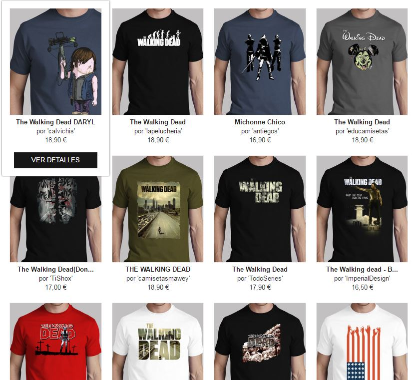 camisetas chico the walking dead